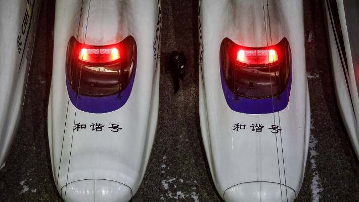 The fastest trains only stop once at Nanjing South and take four hours, 48 minutes to reach Shanghai's western suburbs some 1300 kilometres away.