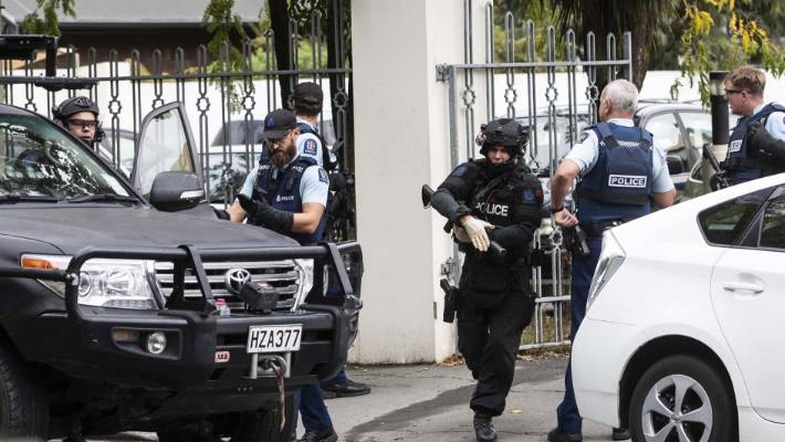 Police at the scene of the Al Noor mosque on Deans Ave in Christchurch on March 15.