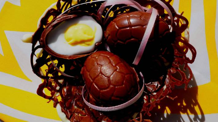The creme eggs are filled with yellow and white fondant