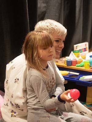 Prime Minister Jacinda Ardern, Pink and their children catch up in Auckland at one of Pink's Spark Arena shows in ...