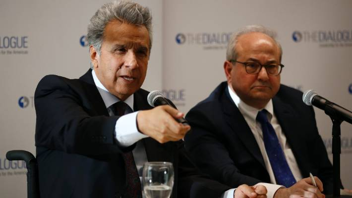 Ecuador's President Lenin Moreno left speaks at an event at the Inter American Dialogue think tank in Washington