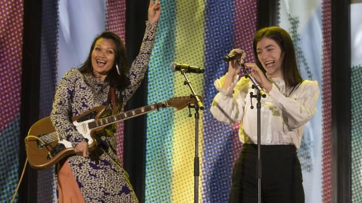 Lorde performs with Bic Runga at Christchurch Stadium.