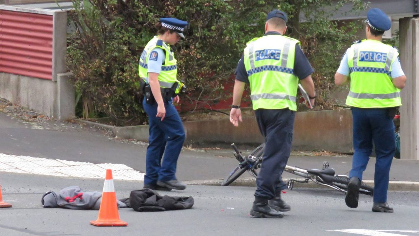 Car and cyclist collide in Dunedin