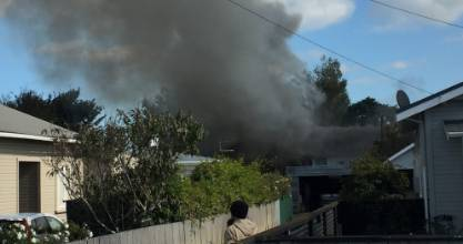 A block of flats on the corner of Laurent VC St and Dixon Ave in Hāwera were on fire on Friday morning.