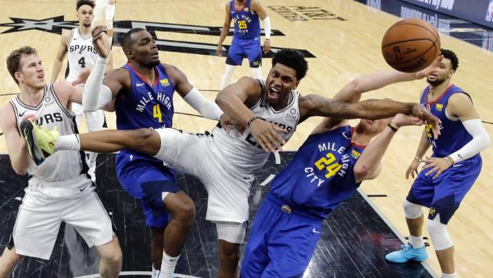 445b61a4207 Derrick White leads San Antonio Spurs past Denver Nuggets in NBA playoffs