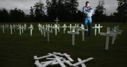 Huntly RSA president Frank McInally said vandals in a vehicle ploughed through more than 40 white crosses planted for ...