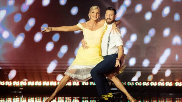 Former televison presenter Jude Dobson was the first person eliminated from Dancing with the Stars.