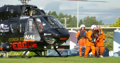 A helicopter arrives at Southland Hospital in Invercargill on Tuesday afternoon with the three men who survived a ...