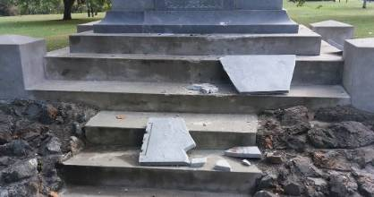 Ngāruawāhia's cenotaph at The Point has been damaged.