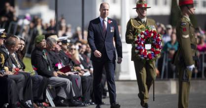 Prince William at the Auckland Anzac Day commemorations at the Auckland War Memorial Domain.