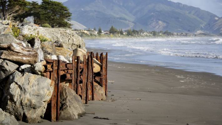 Effects of coastal erosion  can be seen clearly at Raumati beach.