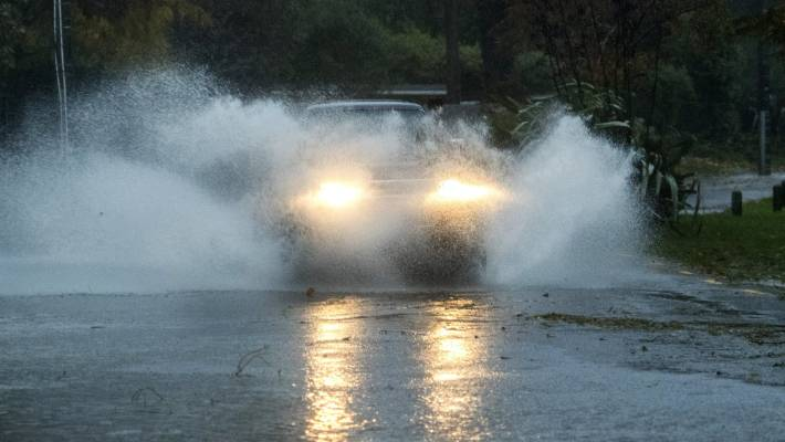 Heavy rain and strong wind hit Christchurch and parts of Canterbury earlier on Monday, but eased.