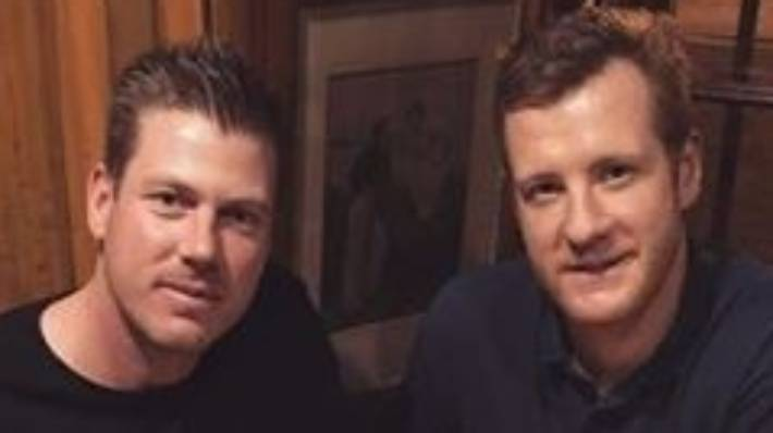 Australian cricket player James Faulkner left with his five-year-old roommate Rob Jubb.