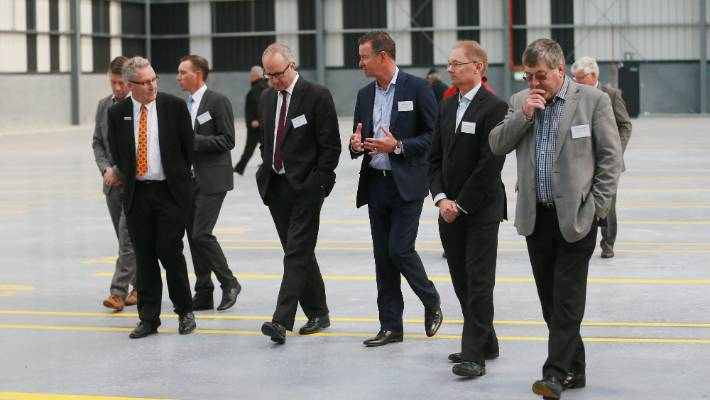 Politicians from several areas were at the official opening of the Waikato Freight Hub. Pictured from left are Hamilton Mayor Andrew King, Transport Minister Phil Twyford, Ports of Auckland chief executive Tony Gibson, Ports of Auckland general manager of infrastructre and property Alistair Kirk, and Waikato District Mayor Allan Sanson.