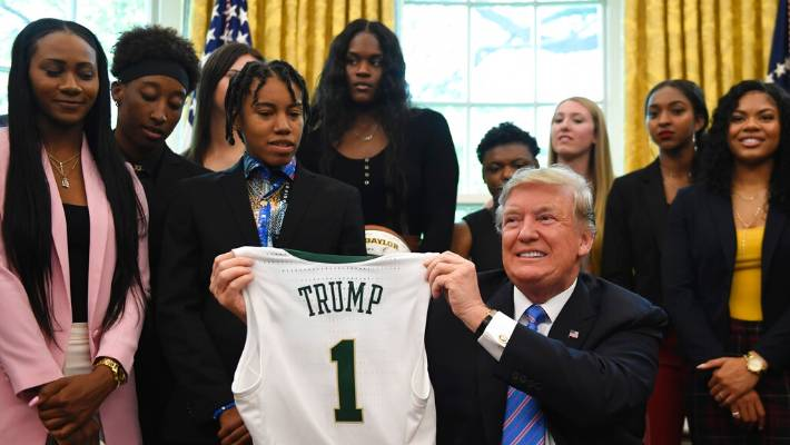 Baylor women's basketball team visits Trump