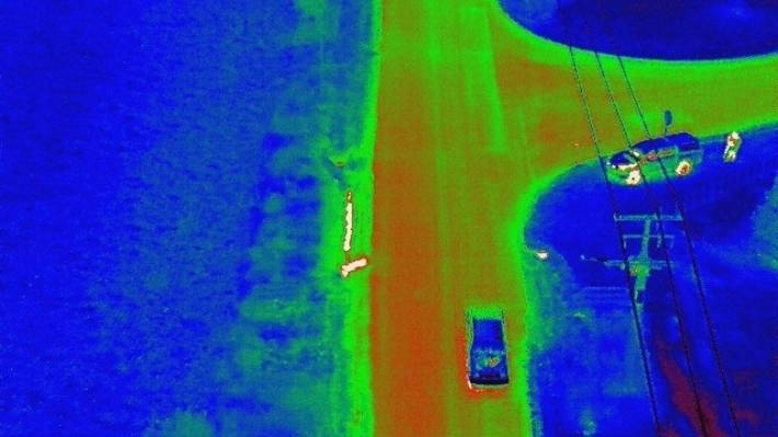 A drone with thermal imaging technology used to spot water