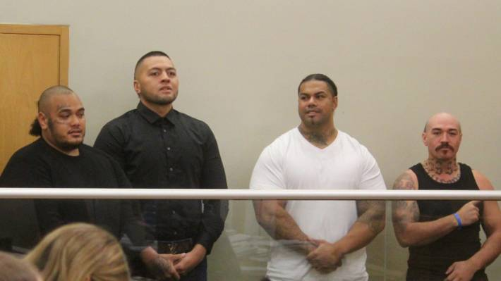 From left: Jarome Fonua, Tyson Daniels, Pasilika Naufahu, and Connor Michael Tamati Clausen in the Auckland District Court in May.