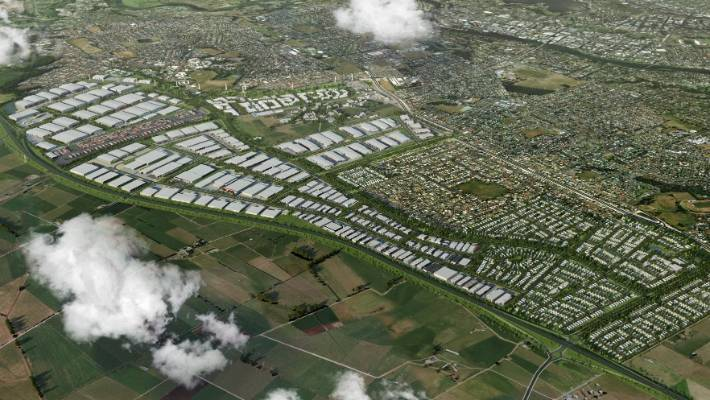 An artist's impression of the full Ruakura Inland Port development.