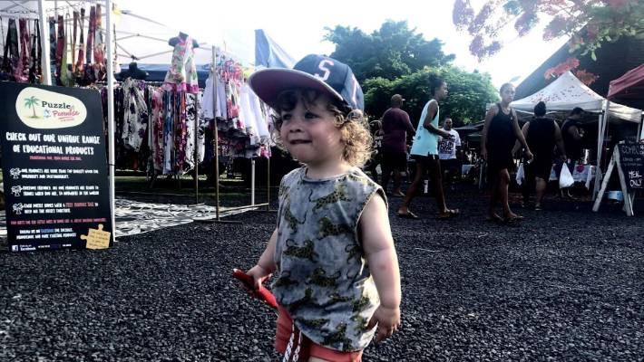 Visiting the Punanga Nui Cultural Markets in Avarua, Rarotonga.