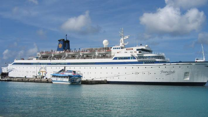 The 134-metre Freewinds ship was previously quarantined in St. Lucia after a crew member was diagnosed with measles.