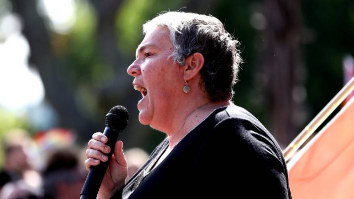 Auckland Pride chairperson Cissy Rock speaking at 'Our March' on February 9, 2019 in Auckland.