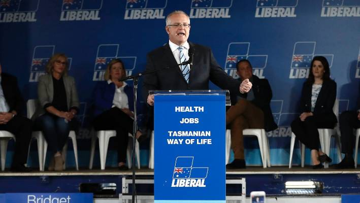 Australian PM Morrison egged on election campaign trail