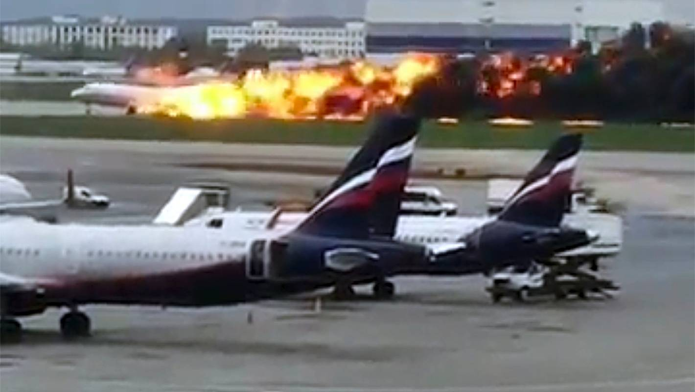 Burning Aeroflot plane lands in Moscow, at least 13 people dead