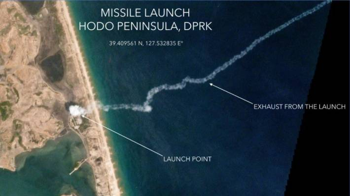 A satellite image from Planet Labs shows the North Korean missile launch on May 4
