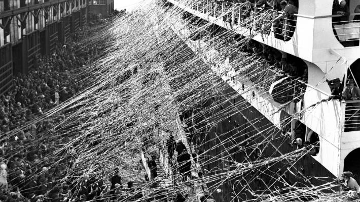 No streamers like they used to use. The departure of The Orion in Sydney in February 1938.