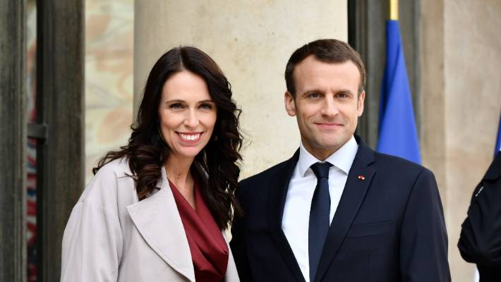 Prime Minister Jacinda Ardern with French President Emmanuel Macron with whom she is hosting the summit