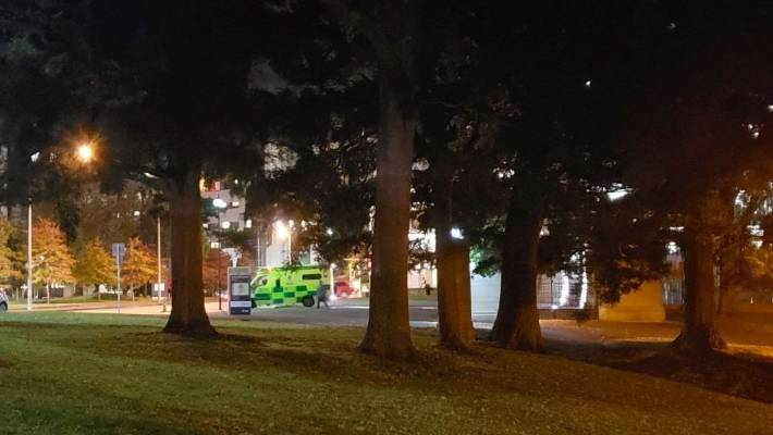 An ambulance on standby at the Auckland Domain during an NZDF counter-terrorism exercise.