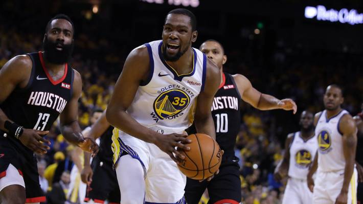 5b62fcf330f0 A strained calf muscle has ruled Warriors  Kevin Durant out of the NBA  playoff series