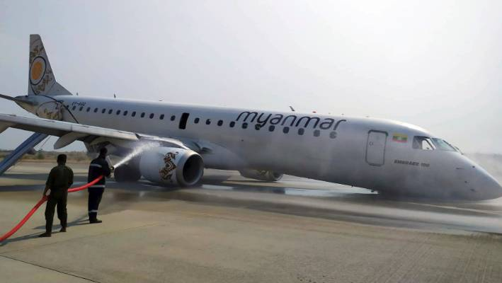 Aviation: Myanmar plane lands without front wheels