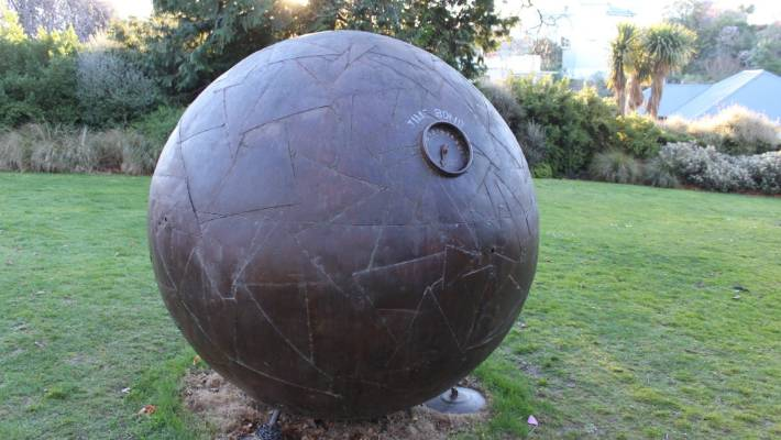 Sam Mahon's Time Bomb is one of many outdoor sculptures on display at Timaru's Aigantighe Art Gallery.
