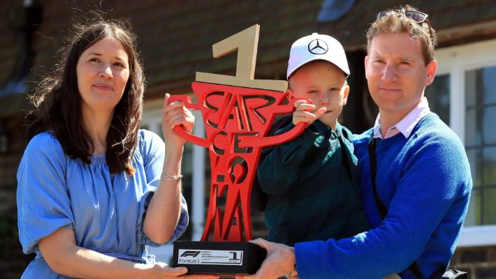 Image result for LEWIS HAMILTON SENDS GRAND PRIX CAR AND TROPHY TO HOME OF DYING 5-YEAR-OLD