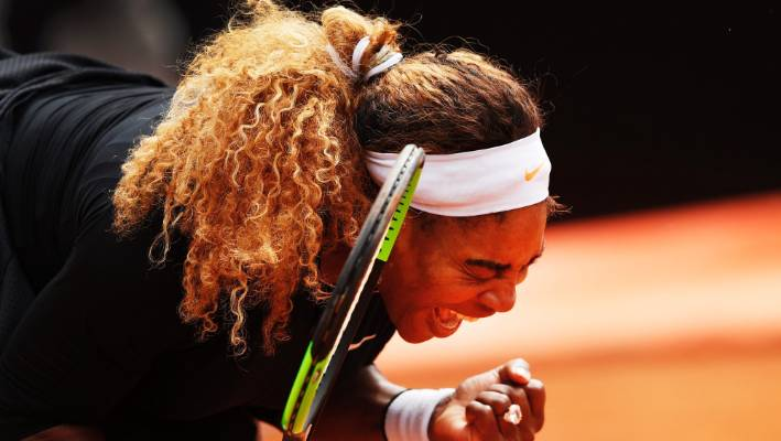 Serena Williams celebrates her victory in the first round of the Italian Open this week.