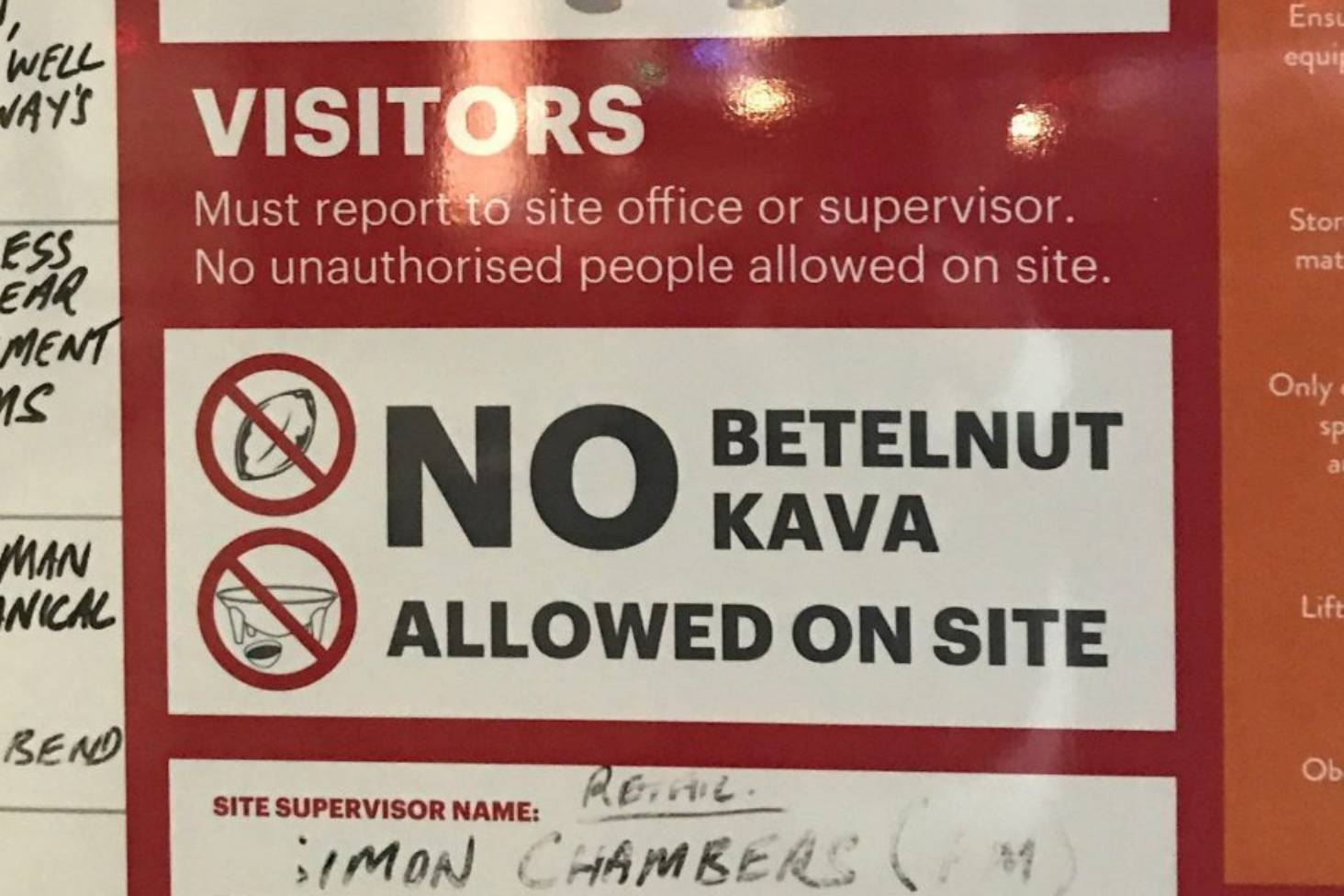 Cancer-causing betelnut and kava banned from construction site