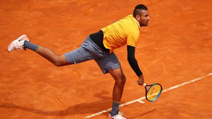 Italian Open: Nick Kyrgios serves underarm during win over Daniil Medvedev