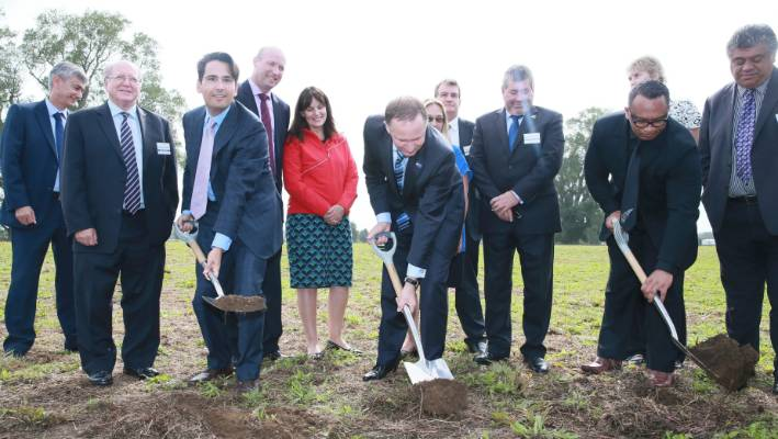 Then Prime Minister John Key and Transport Minister Simon Bridges turned the sod on the Hamilton section of the Waikato Expressway in March 2016.