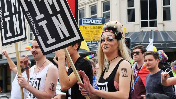 The 'I'm In' ending HIV campaign at Wellington Pride Parade. NZ was a world leader in HIV prevention in the 1980s and this generation can get us there again.