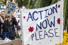 Thousands attend Nelson climate change protests on the Cathedral steps in March.
