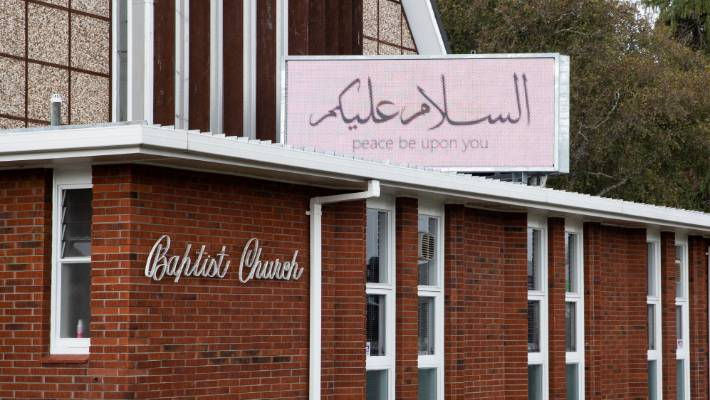 Peace be upon you, says the sign in Arabic on the Tauranga Central Baptist Church.