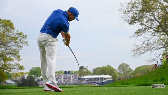 Koepka runs on the 18th hole during the second round of the 2019 championship on Saturday.