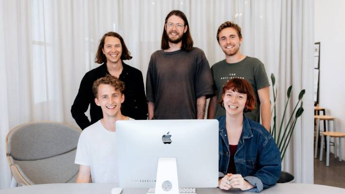 Team members at Kiwi start-up Narrative. Clockwise from top left are James Broadbent, Steffan Levet, Martin Le Bris, Brya Pilbrow and Sam Roberts.