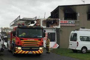 The fire started in a two-storey building on Pukekohe's Crosbie Rd.