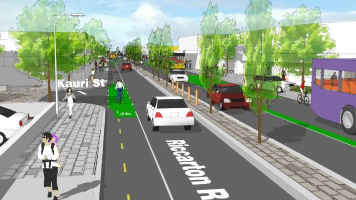 An artist's impression of the revamped Riccarton Rd with trees, a median strip and cycle lanes.