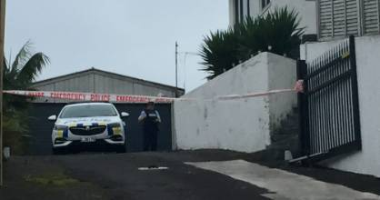 A police scene guard is in place at a property on Ngamotu Rd, New Plymouth.