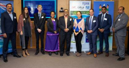 """Among the guests at the recent """"Doing Business in Fiji"""" Roadshow in Auckland were, from left: Chandar Sen, president of ..."""
