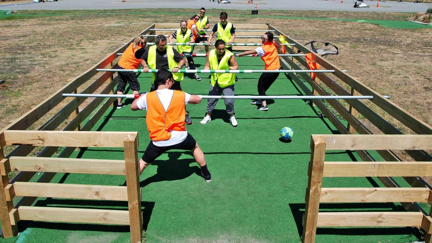 Kicking it at Christchurch's first human foosball arena