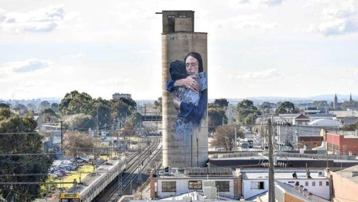 Silos of harmony: The landmark mural in Tinning Street, Melbourne.